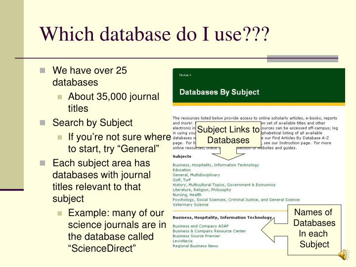 Which database do I use???