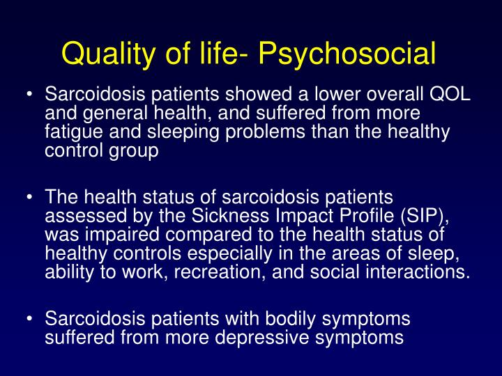Quality of life- Psychosocial
