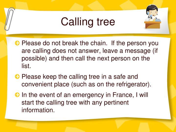 Calling tree