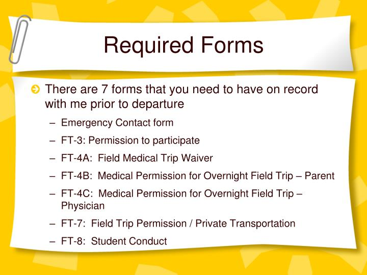 Required Forms