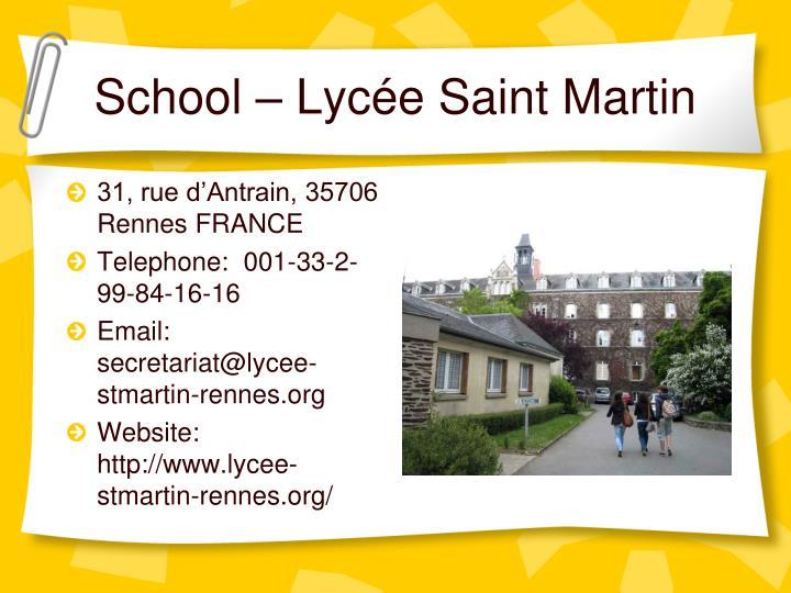 School – Lycée Saint Martin