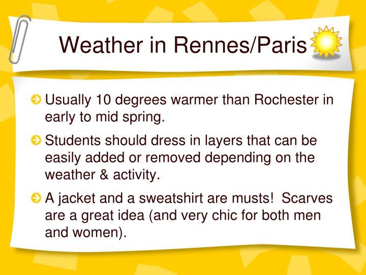 Weather in Rennes/Paris
