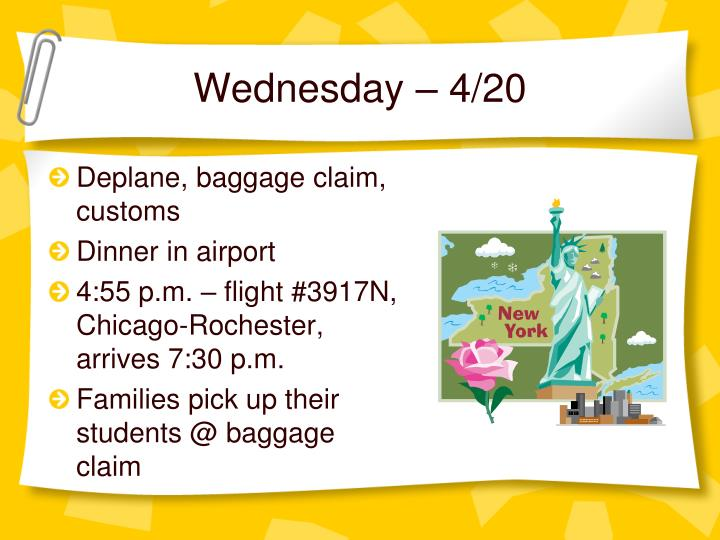 Wednesday – 4/20