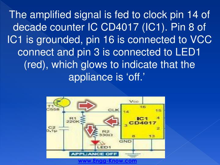 The amplified signal is fed to clock pin 14 of decade counter IC CD4017 (IC1). Pin 8 of IC1 is grounded, pin 16 is connected to VCC connect and pin 3 is connected to LED1 (red), which glows to indicate that the appliance is 'off.'