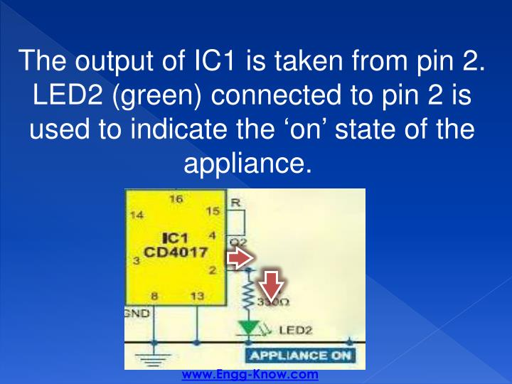 The output of IC1 is taken from pin 2. LED2 (green) connected to pin 2 is used to indicate the 'on' state of the appliance.