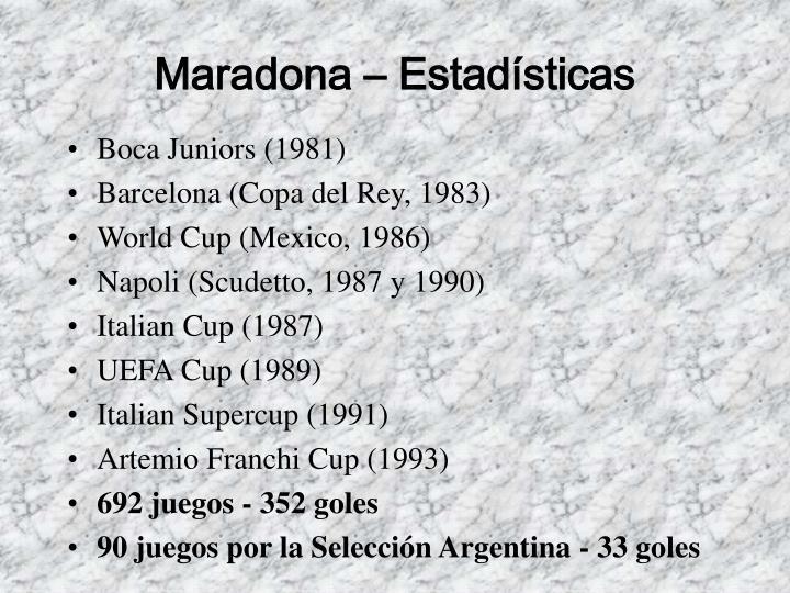 Maradona – Estadísticas