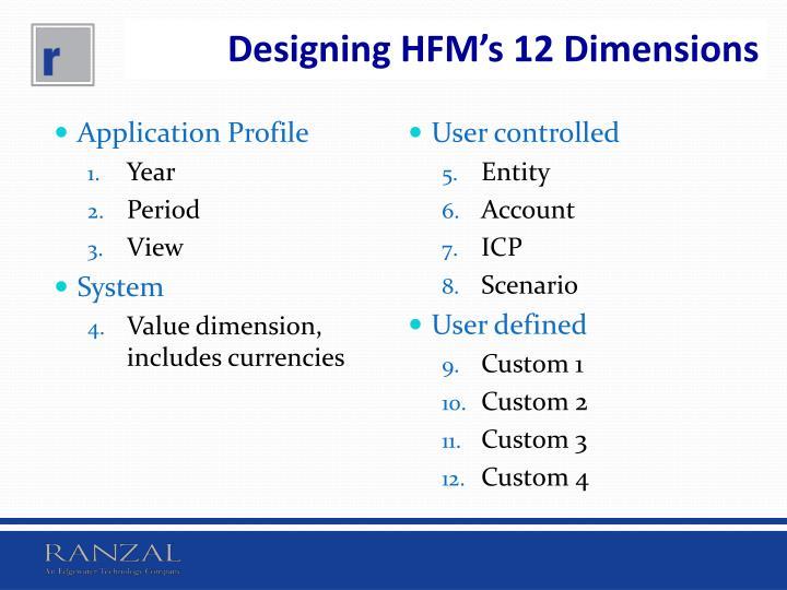 Designing HFM's 12 Dimensions
