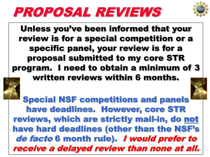 PROPOSAL REVIEWS