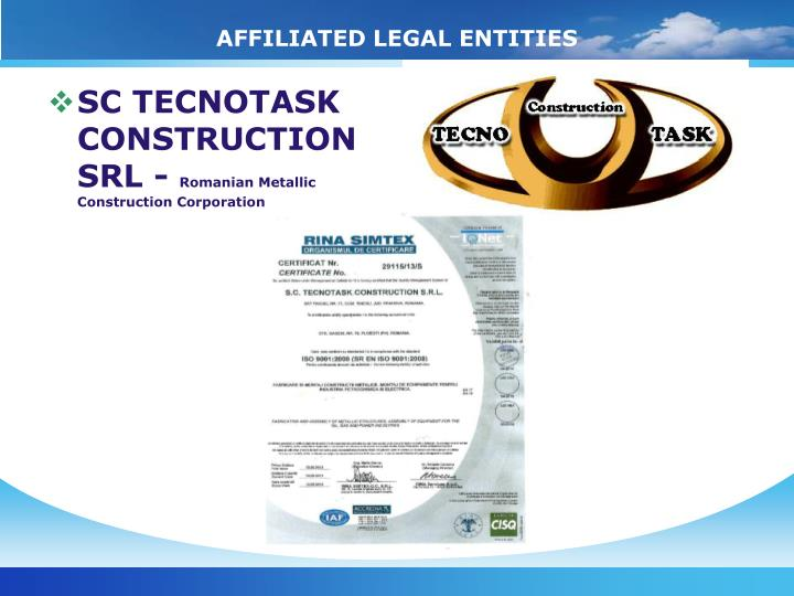 AFFILIATED LEGAL ENTITIES