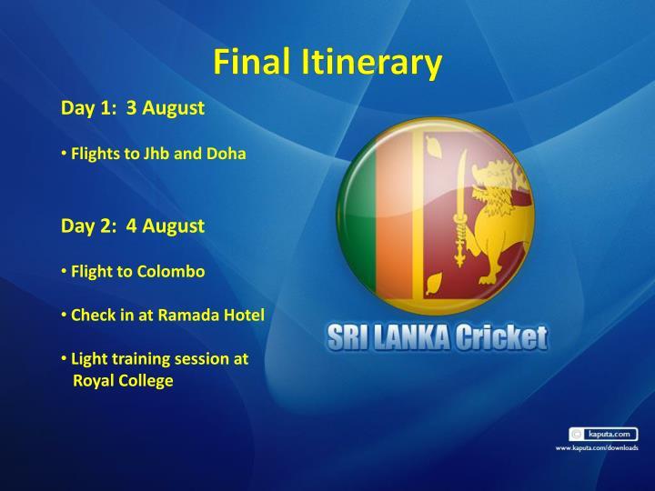 Final Itinerary