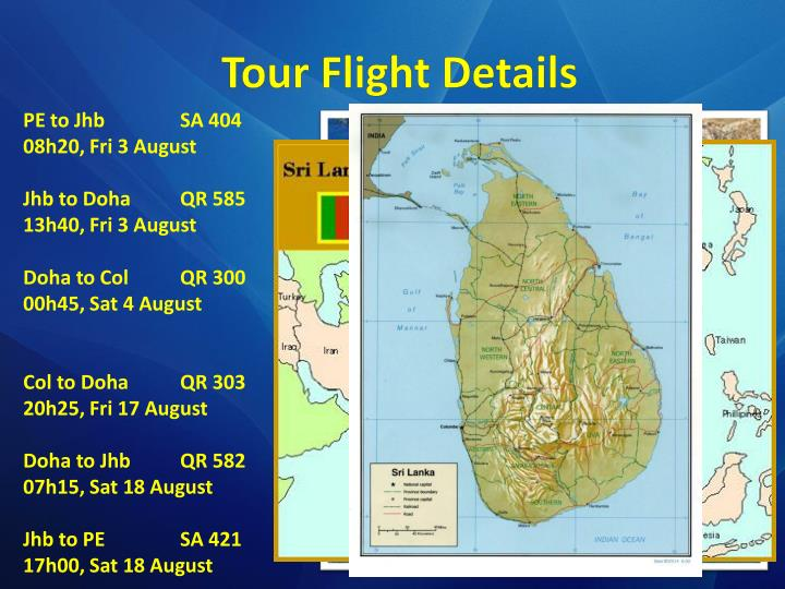 Tour flight details