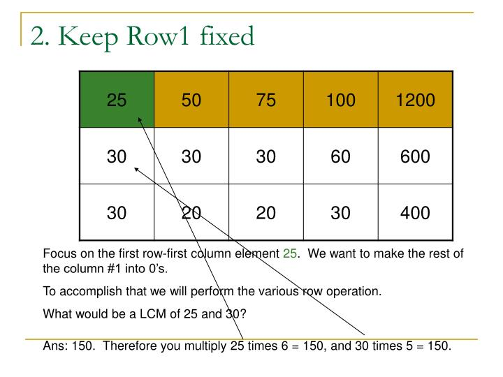 2 keep row1 fixed