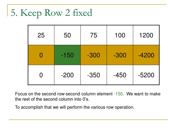 5. Keep Row 2 fixed