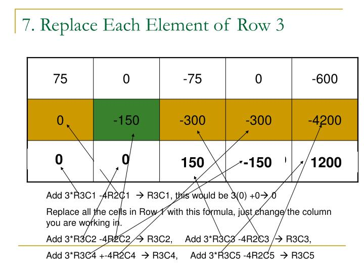 7. Replace Each Element of Row 3