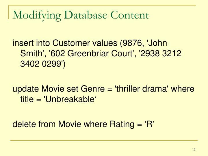 Modifying Database Content