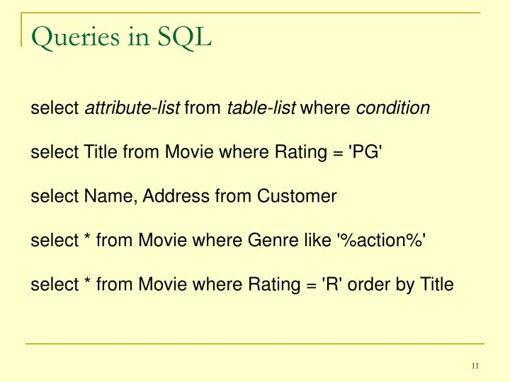 Queries in SQL