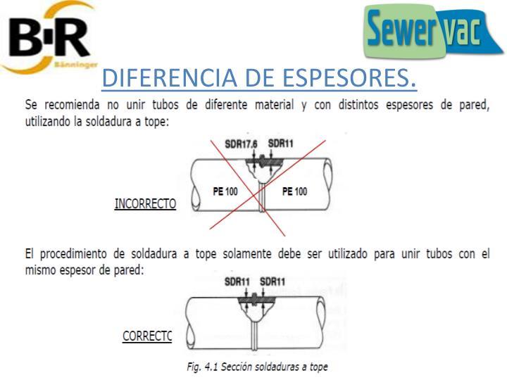 DIFERENCIA DE ESPESORES