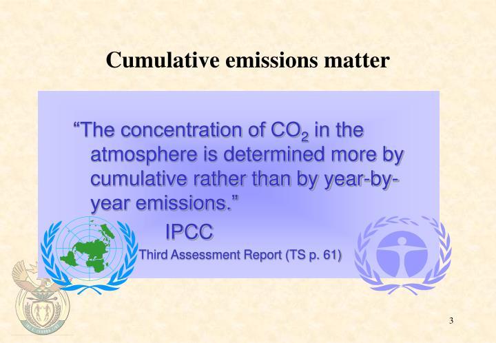 Cumulative emissions matter