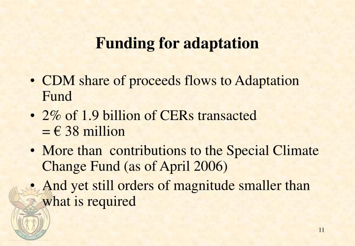 Funding for adaptation