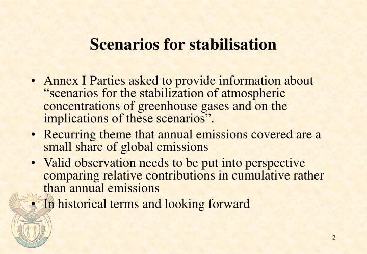 Scenarios for stabilisation