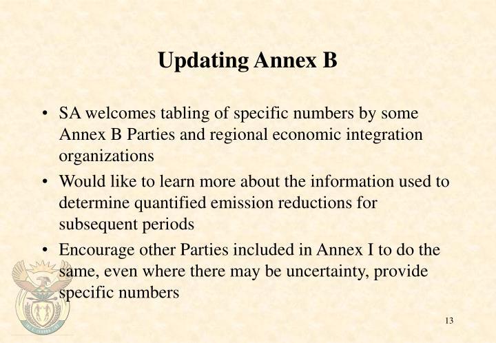 Updating Annex B