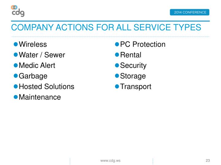 Company actions for all service types