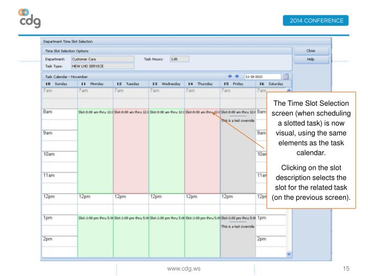 The Time Slot Selection screen (when scheduling a slotted task) is now visual, using the same elements as the task calendar.