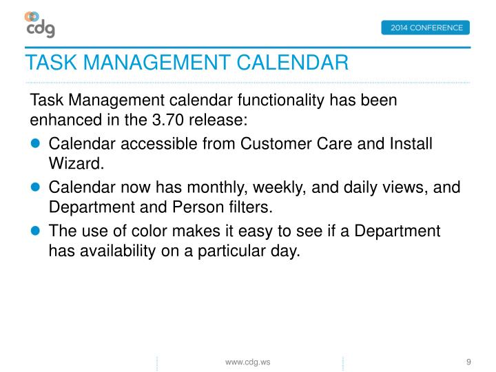 Task Management calendar