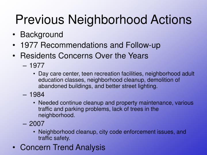 Previous Neighborhood Actions