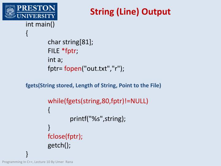 String (Line) Output