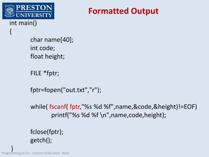 Formatted Output