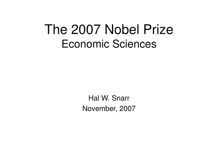 The 2007 nobel prize economic sciences