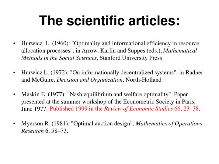 The scientific articles: