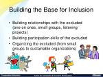 building the base for inclusion