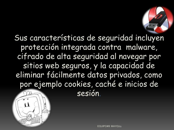 Sus características de seguridad incluyen protección integrada contramalware, cifrado de alta seguridad al navegar por sitios web seguros, y la capacidad de eliminar fácilmente datos privados, como por ejemplocookies,cachée inicios de sesión