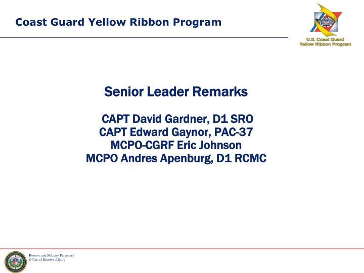 Senior Leader Remarks