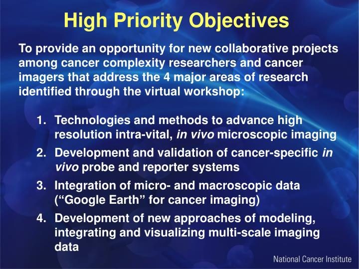 High Priority Objectives