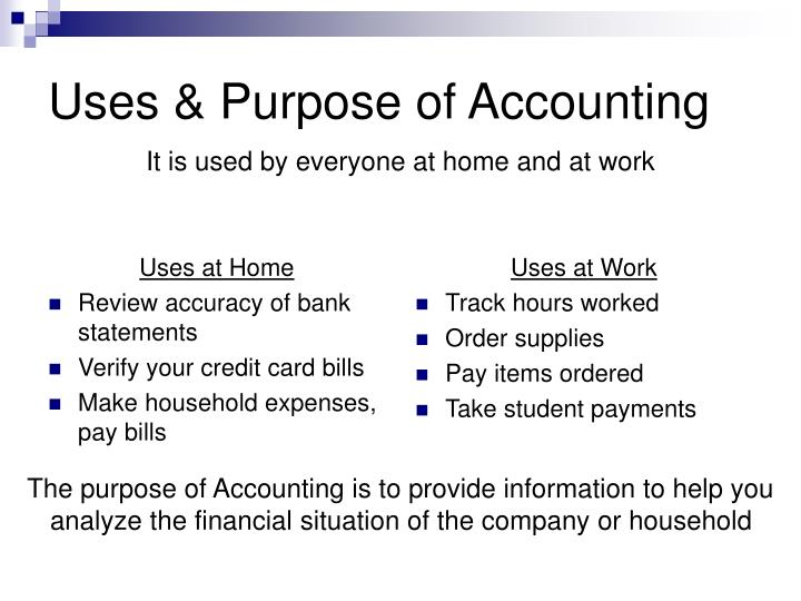 Uses purpose of accounting