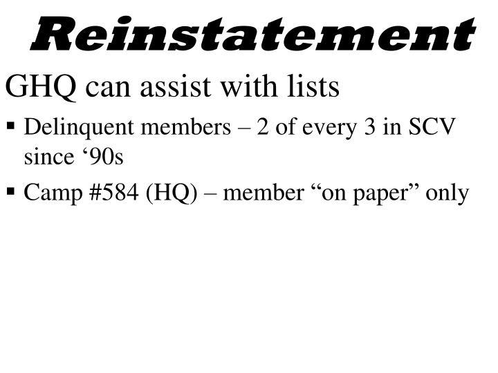 Reinstatement