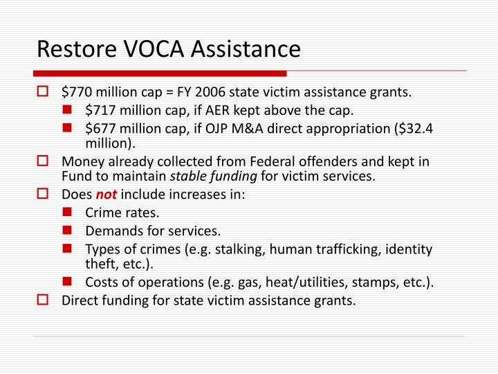 Restore VOCA Assistance