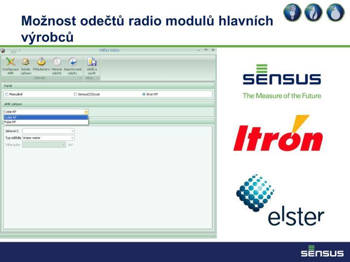 Možnost odečtů radio modulů hlavních výrobců