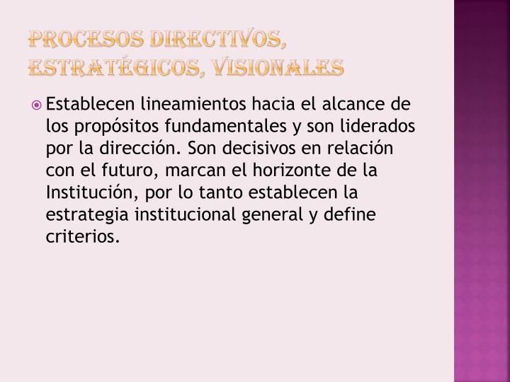 Procesos Directivos, Estratégicos,