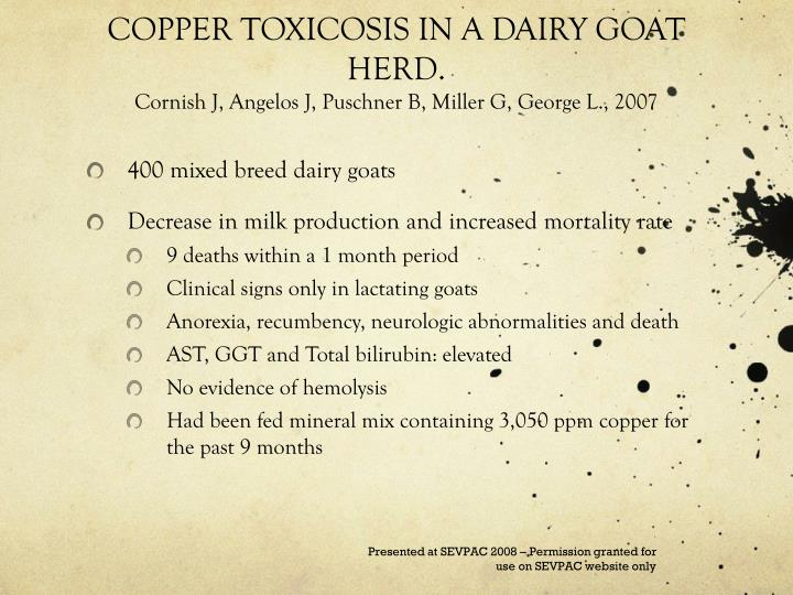 COPPER TOXICOSIS IN A DAIRY GOAT HERD.
