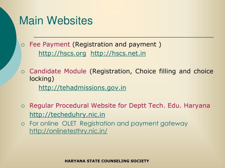 Main Websites