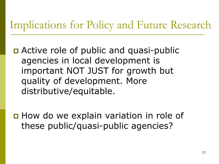 Implications for Policy and Future Research