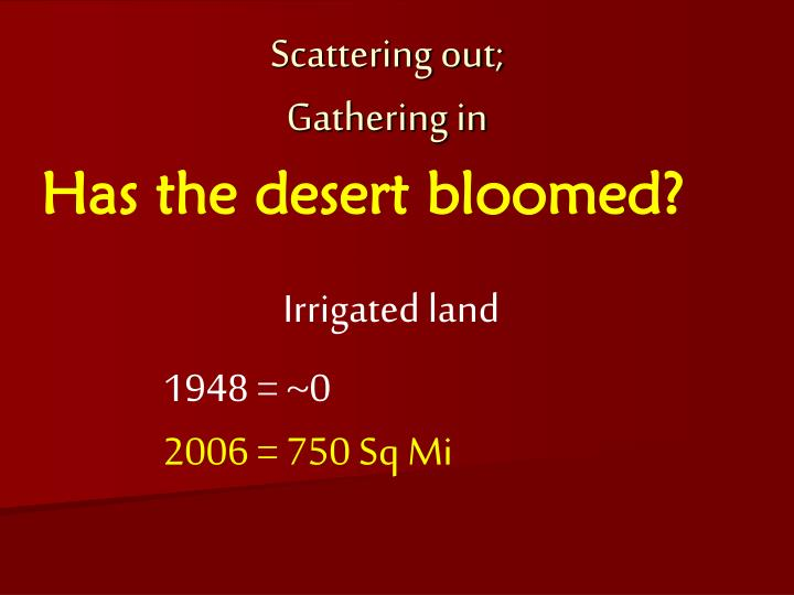 Has the desert bloomed?