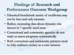 findings of research and performance outcome workgroup
