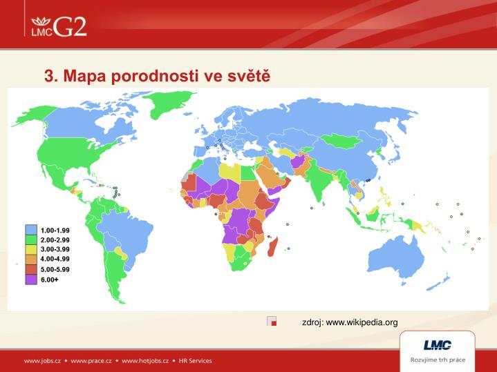 3. Mapa porodnosti ve světě