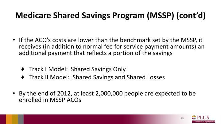 Medicare Shared Savings Program (MSSP) (cont'd)