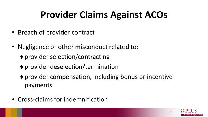 Provider Claims Against ACOs